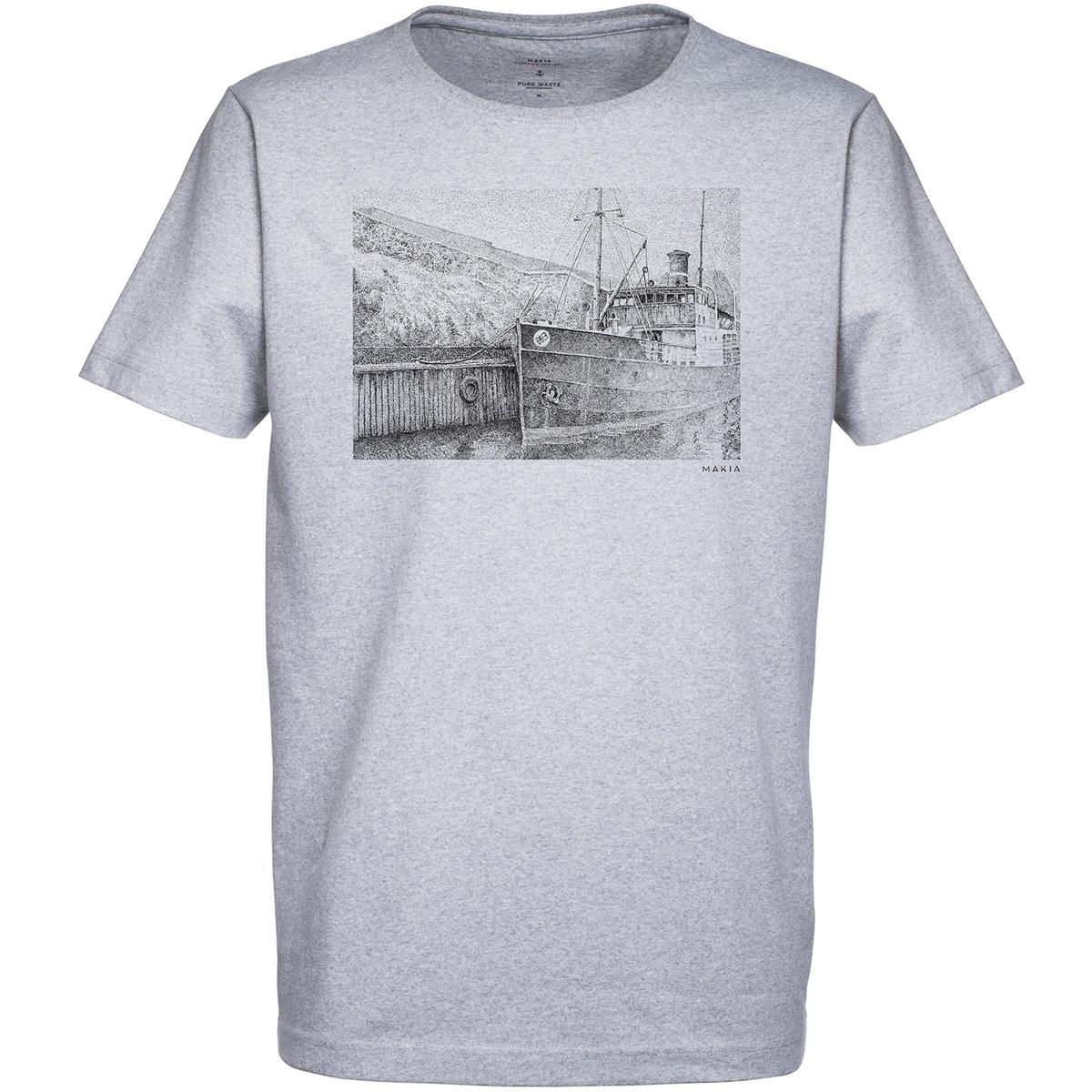 New SHIP T-SHIRTФутболки и Поло<br>Стильная и практичная футболка, на 100% изготовленная из переработанных материалов, с оригинальным нагрудным принтом от художника Danny Larsen. За счёт лаконичного дизайна эта модель будет всегда гармонично сочетаться с любой одеждой.  <br> <br> <br> Особенности: <br><br>Мужская футболка <br><br>Короткий рукав <br><br>Круглый вырез <br><br>Плотность материала 185 г/м? <br><br>Крупный принт на груди от художника Danny Larsen <br><br>Состав: 70% переработанный хлопок, 30% переработанный полиэстер.<br><br>Сезон: SS17<br>Артикул: 68851<br>Цвет: GREY<br>Пол: МУЖ<br>Пол: Мужcкое<br>Размер: M<br>Тип вещи: ФУТБОЛКА