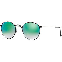 RAY BAN ROUND METAL A/S SHINY BLACK/MIRROR GRADIENT GREEN