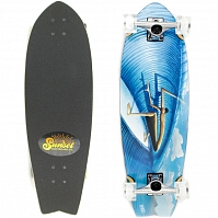 SUNSET SKATEBOARDS ALDERS  COMPLETE SS FISH LOGO DECK  CRUISER WHEELS-WHITE