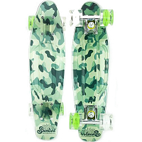 SUNSET SKATEBOARDS CAMO COMPLETE 27 SS GREEN CAMO DECK-WHITE/GREEN WHEELS