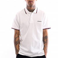 Carhartt WIP S/S SCRIPT EMBROIDERY POLO WHITE / DARK NAVY / CARDINAL