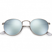 RAY BAN ROUND METAL A/S MATTE SILVER/LIGHT GREEN MIRROR SILVER