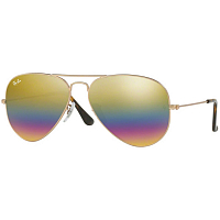 RAY BAN AVIATOR LARGE METAL A/S METALLIC LIGHT BRONZE/light grey mirror rainbow 3