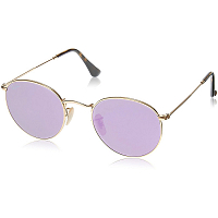 RAY BAN ROUND METAL A/S SHINY GOLD/WISTERIA FLASH