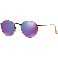 RAY BAN ROUND METAL A/S BRUSHED BRONZE DEMI SHINY/MIRROR VIOLET